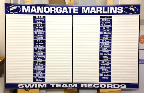 Manorgate Swimming Record Board