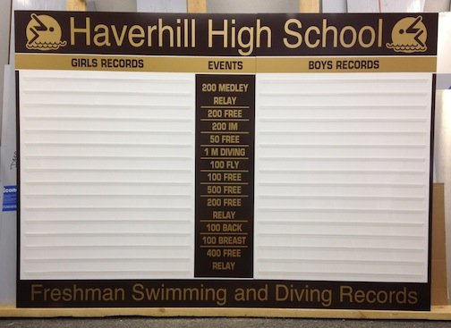 "Haverhill Swim and Dive Record Board for freshman swimming is 78"" x 56"" uses a 1-1/2"" letter and runs $1,495 plus shipping."