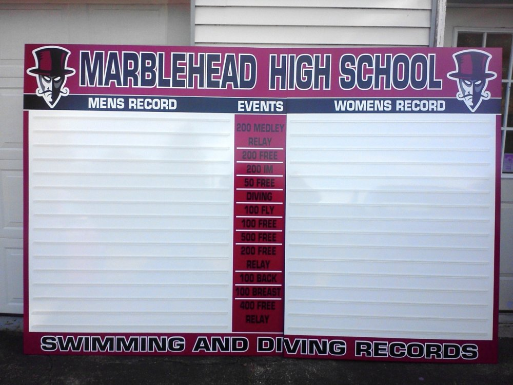 "Marblehead Swim and Dive Record Board is 108"" x 71"" uses a 2"" letter and runs $1,795 plus shipping"